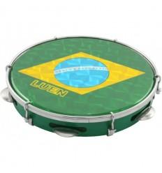 """Pandeiro 10"""" con parche bandera brasil"""